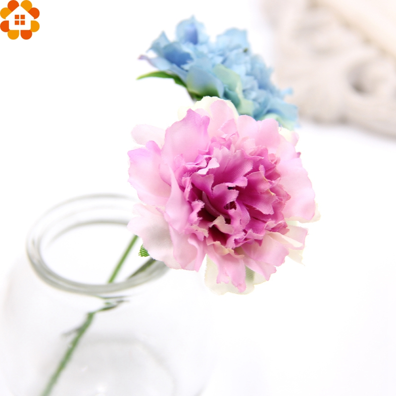 15PCS Artificial Silk Flowers Carnation Flower Heads For Home/ Wedding Party Decoration Home Garden Decorative Wreath Flowers