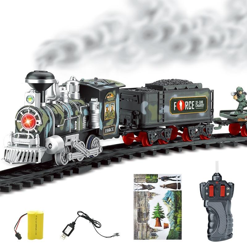 Clássico elétrico dinâmico vapor rc track train conjunto de simulação modelo brinquedo crianças recarregável brinquedo controle remoto trem