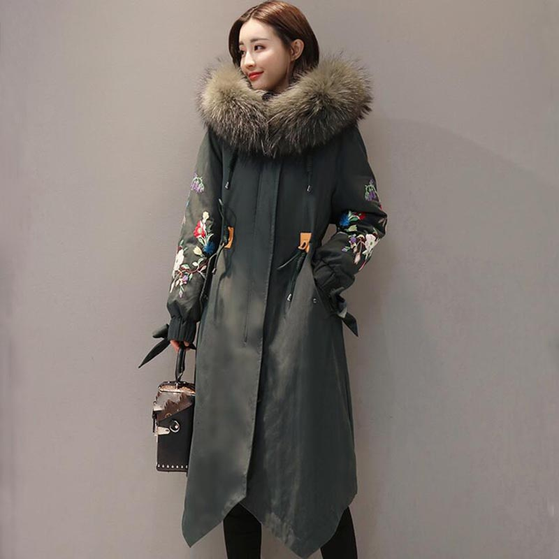 2018 Thick Large Fur Collar Hooded   Down   Jacket Warm Loose Female Embroidery Women   Coat   Winter Jacket Women Parkas YP1250