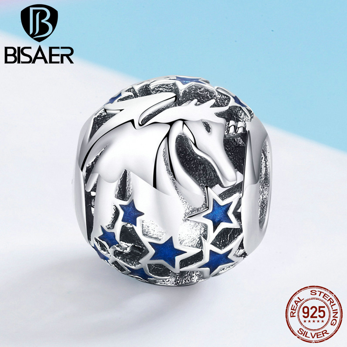 BISAER Beads 925 Sterling Silver Enamel Stars Unicorn Licorne Round Charm for Women Jewelry Making Fashion Accessories GXC935