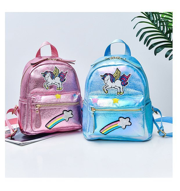 Cute Unicorn Sequin Embroidery Cartoon Sac A Dos Girl Backpack Female Student Bag Backpack Leisure Travel Zipper Bag