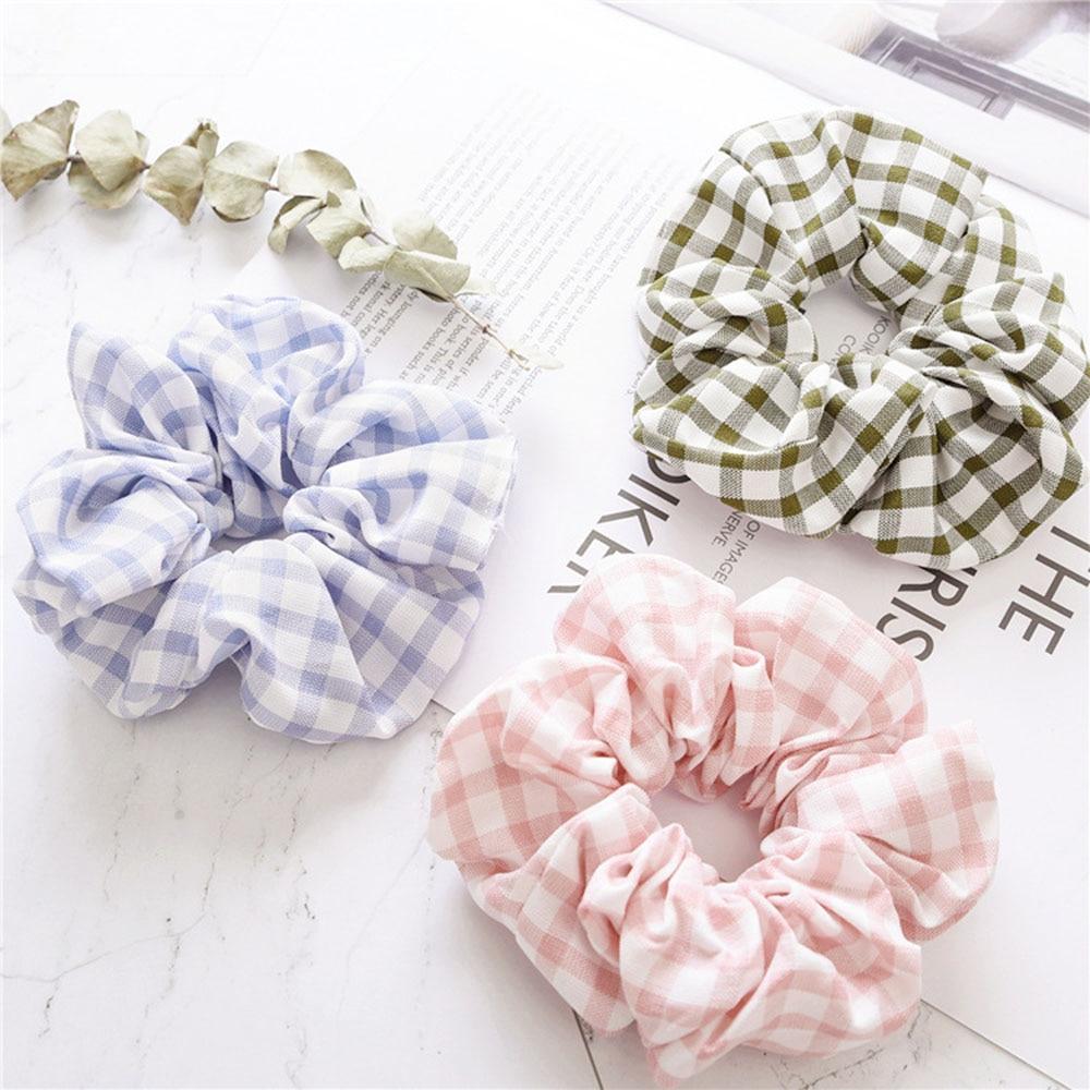2019 New Korean Design Printed Plaid Ponytail Holder Scrunchies Elastic Hairband Hair Rope Tie For Women & Girl Hair Accessories