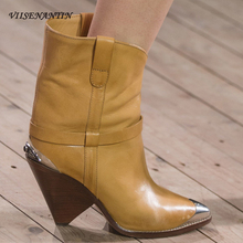 VIISENANTIN Fashion Motocycle Boots Chunke Heel Rubber Women Cap Toe Slip on Tassel Decor Rivet Shoes Knight Female Bootie