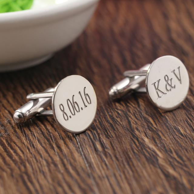 Groom Wedding Gift Silver Men Cufflinks Engraved Momogramed Custom 2 Initials Stamp Cufflinkscloth Accessory Gemelos