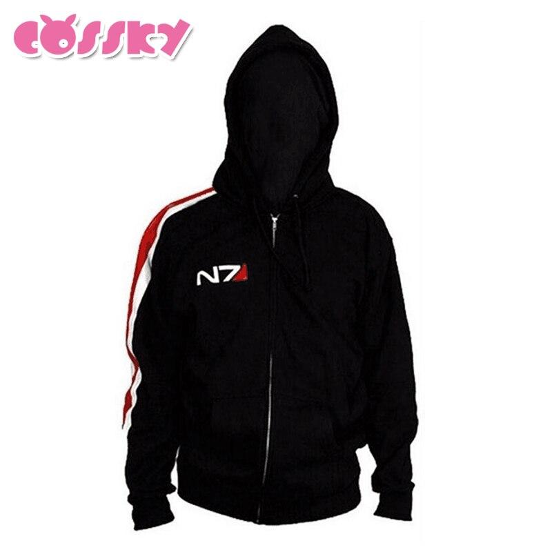 Mass Effect 3 N7 Hoodie Cosplay Costume Man Spring Fall Suit Black Top Zipper Casual Coat