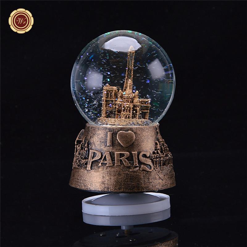 New Music Box Crystal Ball Snow Globe Glass Lights Crafts Home Desktop Decoration Girlfriend Gifts Birthday Gift in Music Boxes from Home Garden