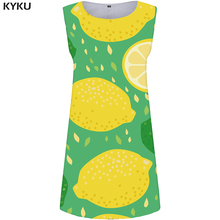 496dd00a0 KYKU limón vestido de las mujeres fruta verde Oficina vestido de 3d  imprimir Vestido de playa