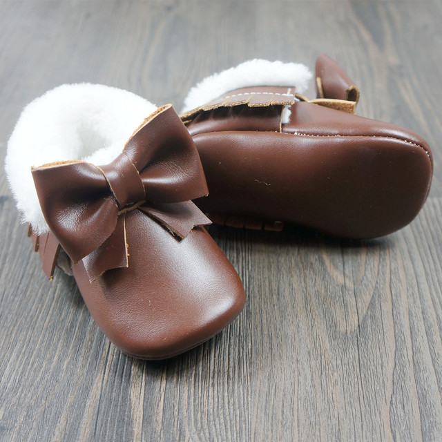 New style Baby shoes with Fur First Walkers Toddler Bow Baby moccasins winter Newborn Bow Shoes Free shipping