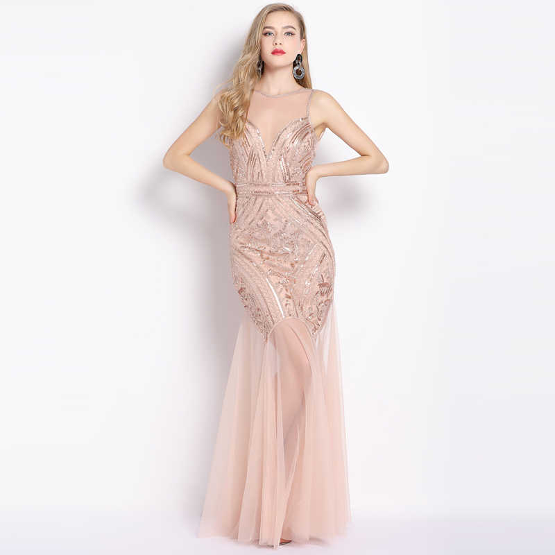 ... Silver Beading Sexy Evening Dresses Mermaid Long Formal Prom Party Dresses  Evening Gowns Sleeveless Formal Dress 2019 on Aliexpress.com  e6cab9a46ffe