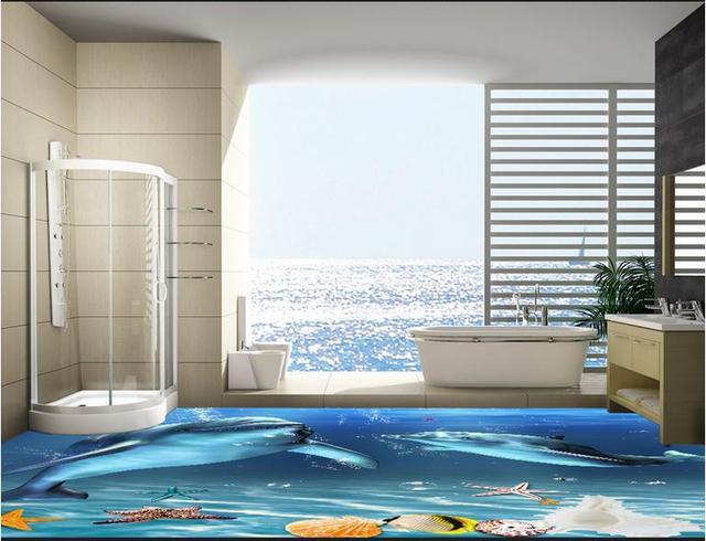 3d Boden Wandmalereien Delphin Meeresboden Stereoskopische Tapete Vinyl Bodenbelag Wohnzimmer Fliesen