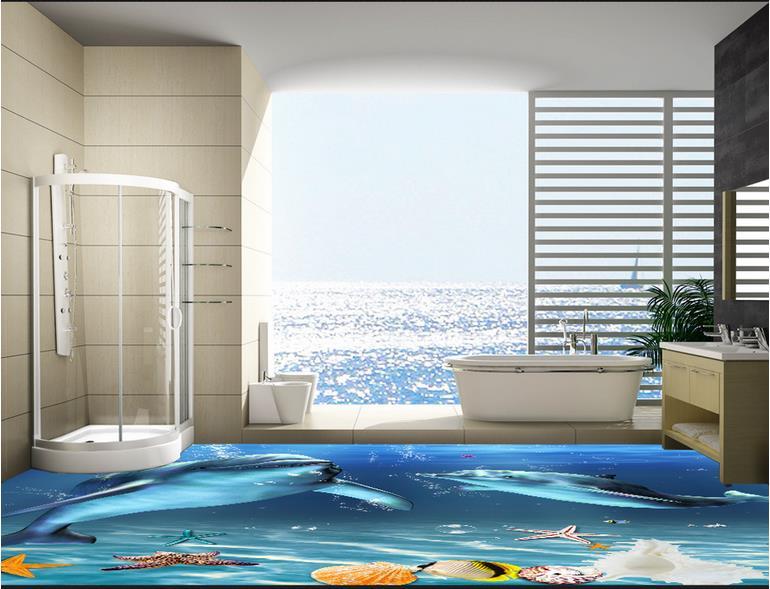 3d floor murals Dolphin seabed 3d stereoscopic wallpaper vinyl flooring wall murals wallpaper living room vinyl floor tiles 3d visual volcano floor vinyl wall sticker