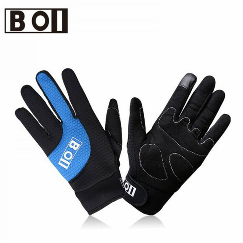 BOI Unisex Full Finger Cycling Gloves Touch Screen mtb Road Bike Gloves Outdoor Mountain Lycra Gel Pad Bicycle Gloves Equipment