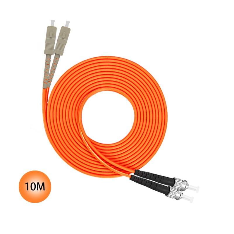 SC to ST 50/125 Multimode Duplex Plenum Fiber Patch Cable 10M Jumper Cable 50 Microns UPC Polish Orange OFNP Jacket Fiber Cable