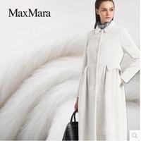 Pure white Suri alpaca fabric 78% Suri alpaca + 18% wool + 4% nylon 595grams per meter