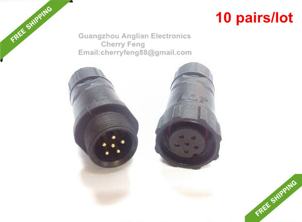Free Shipping! IP68 LED equipment connector, 6 pin butt-type, waterproof electrical equipment connector