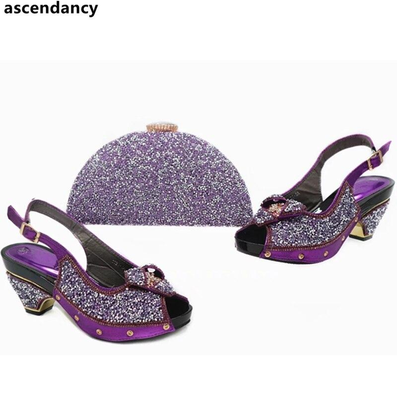 Sacs sliver Ensembles or En Mis À Et Italien Arrivée Chaussures Decoratd Purple rose Pourpre Couleur Pour Nouvelle rouge Sac Correspondre Italie Avec Strass HfwRqYx