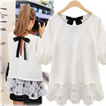 Europe US new large size women fat loose O-neck chiffon hollow sweet bow bands shirt female half sleeve white T-shirt lace sides