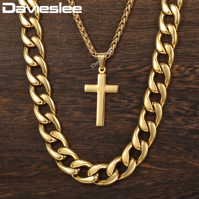 Davieslee Necklace For Men Cross Pendant Double Chain Gold Tone Stainless Steel Cuban Wheat Link Men's Necklace DDN08 double ring letter link chain pendant necklace