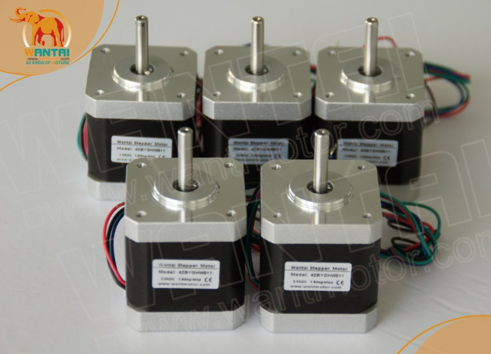Best Seller Wantai 5 PCS 2 phase 4 Leads Nema 17 Stepper Motor 4000g cm 1