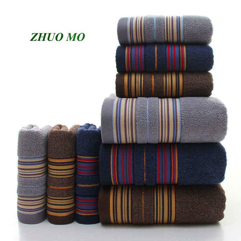 ZHUO MO 3-piezas más grueso patrón de rayas suave conjunto de toallas de algodón baño Super absorbente Toalla de baño azul gris marrón toallas de cara