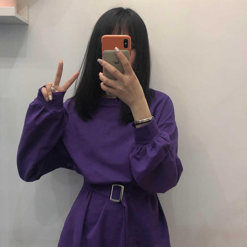 7 สี 2019 ฤดูใบไม้ผลิและฤดูใบไม้ร่วงชุดเสื้อสีทึบแขนยาวผู้หญิงเกาหลีสไตล์ผู้หญิงกับเข็มขัด (X218)