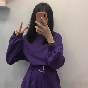 Image 4 - 7 colors 2019 spring and autumn solid color Long Sleeve dress Women Korean style Dress women with belt (X218)