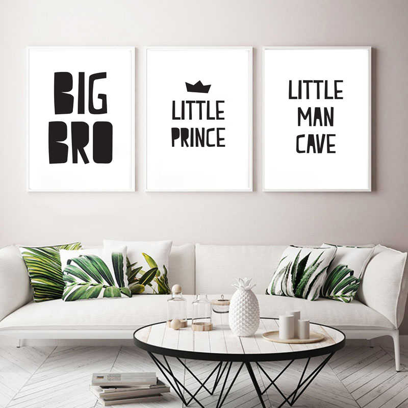 מינימליסטי אח פוסטר נסיך קטן משתלת קיר אמנות Balck לבן ציטוטים בד הדפסי מצחיק מכתב תמונות עבור בני חדר