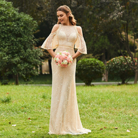 Tanpell Champagne Bridesmaid Dress Lace Half Sleeves Floor Length A Line Gown Women Wedding Party Long