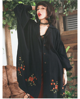 Jessica's Store Spring Autumn Women Vintage Casual Ultra Loose Batwing Sleeve Single Breasted Embroidery Black Long Shirt Blouse