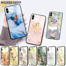 WEBBEDEPP lovely Bambi And Thumper Glass Phone Case for Apple iPhone 11 Pro X XS Max 6 6S 7 8 Plus 5 5S SE