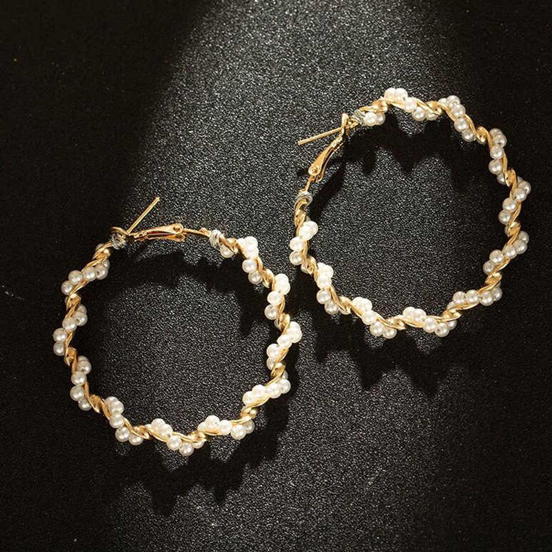 Holiday Style Fairy Temperament Personality Wild Imitation Pearl Circle Metal Buckle Exaggerated Big Circle Earrings Accessories