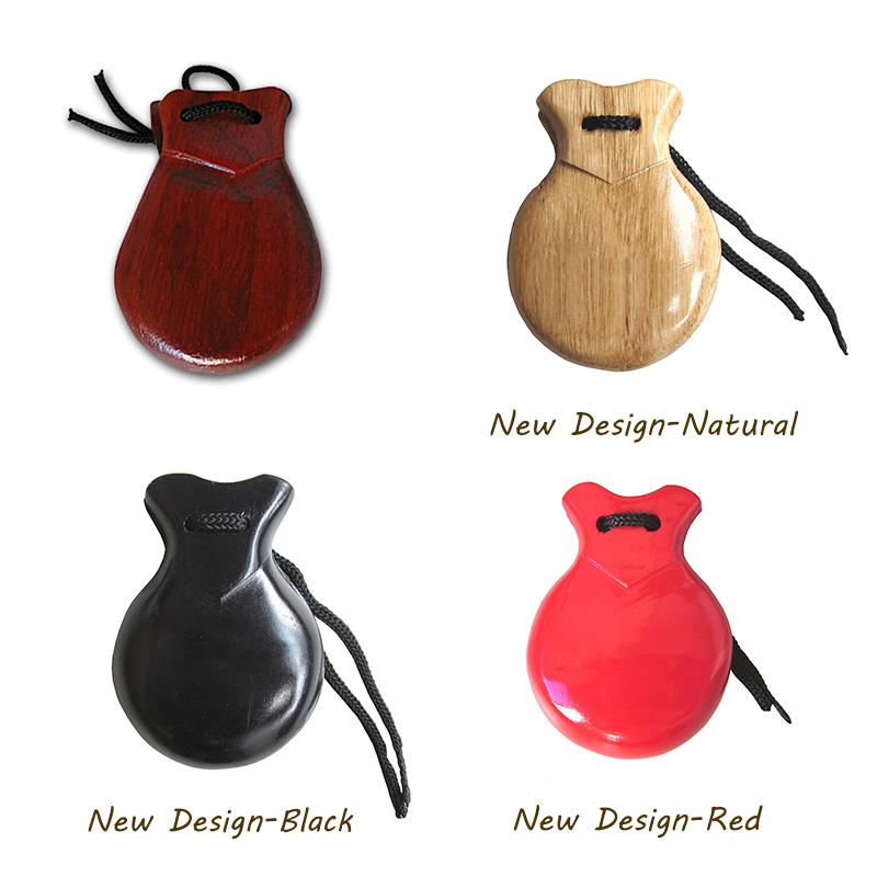 Orff world A Pc Wooden Castanets Wood Percussion Flamenco Musical Instrument Education Child's Intellectual Development Listen