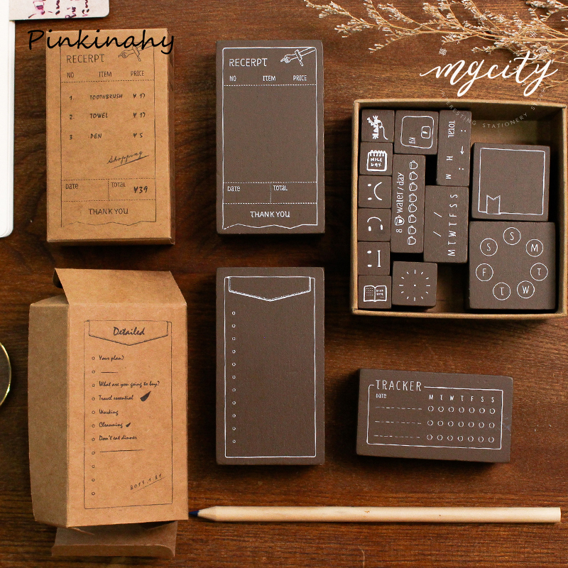 Vintage Functional Series Planner Diary Rubber Wood Stamps Scrapbooking Background Stamp for Memo Task Check Record Keep YZ017(China)