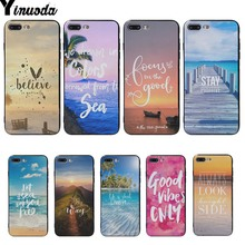 Yinuoda Summer Blue Sky Beach Quotes Black Soft Cover cases For iphone 6 6s 6plus 6S plus 7 7plus 8 8plus 5 5S SE XS XR XSMAX все цены