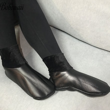 BOHOWAII 厚い革の靴下ユニセックス男性女性原宿イスラム教徒の冬靴下防水サイズ 34 43 Skarpetki