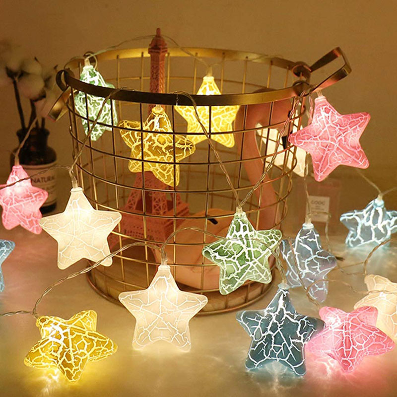 3M/6M LED Crack Star Fairy Lamp Christmas Tree String Twinkle Garlands Battery Flash Holiday Party Wedding Indoor Decor Lights