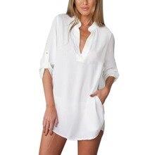 2016 Autumn Women Chiffon Blouse Long Sleeve Deep V Neck Casual Shirts