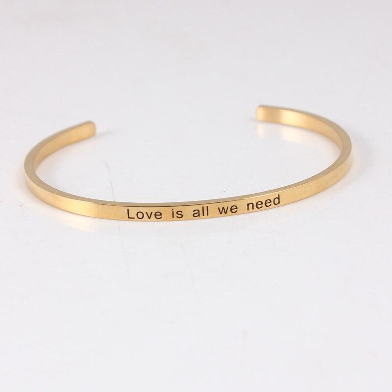 Bracelet en acier inoxydable 316l gravé positif citation inspirante manchette Mantra Bracelet charme Bracelet