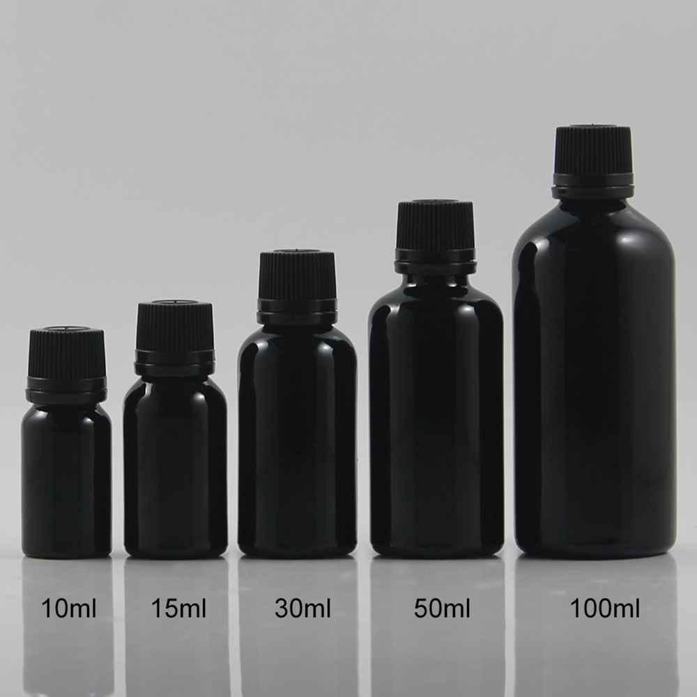 Wholesale 50pcs 30ml Shiny Black Dropper Glass Bottle With Plastic Cap, Dropper Container,essential Oil  30ml Cosmetic Container
