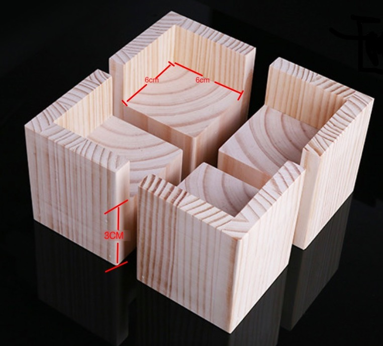 4PCS/LOT  Internal Size: 6x6cm  Increase: 3cm  Sofa Bed Table Legs Pad Chair Cabinet Feet Heightening Solid Wood Pad