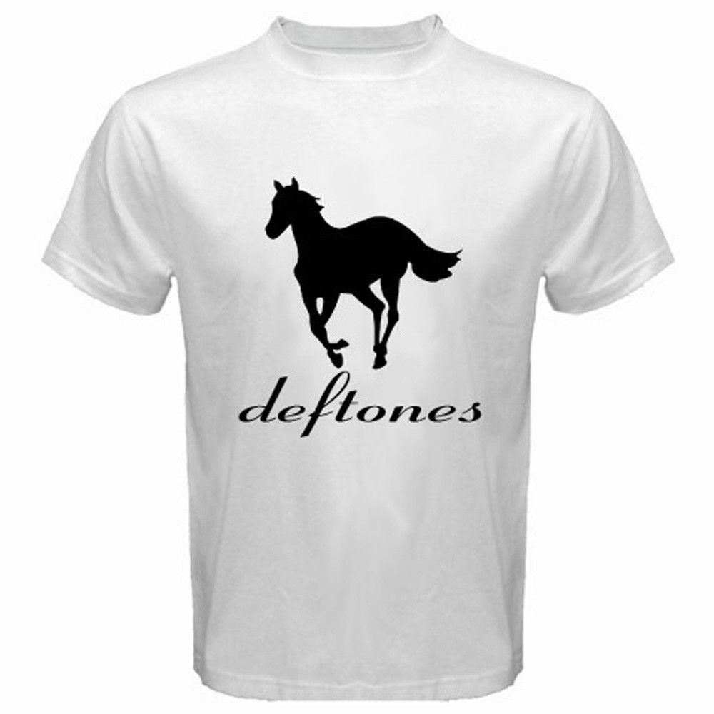 T shirt deftones white pony - 2017 New Fashion Men S New Deftones White Pony Rock Band Logo Printing T Shirt Summer Cool Tops Fashion Tees