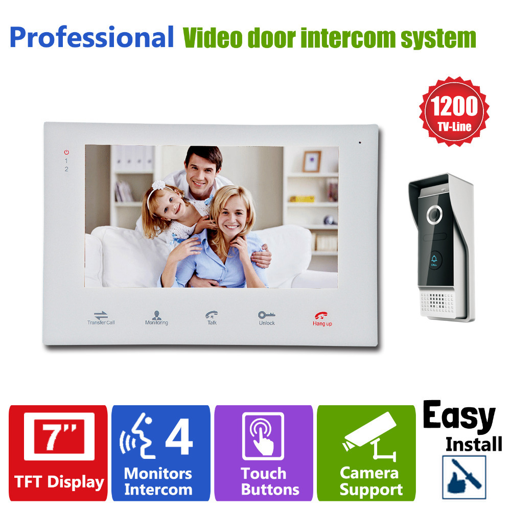 Homefong  7''TFT HD 1200TVL Video Doorbell Camera Door Phone Doorbell Intercom System IP65  Waterproof Quality Indoor Monitors