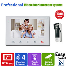 Homefong  7″TFT HD 1200TVL Video Doorbell Camera Door Phone Doorbell Intercom System IP65  Waterproof Quality Indoor Monitors
