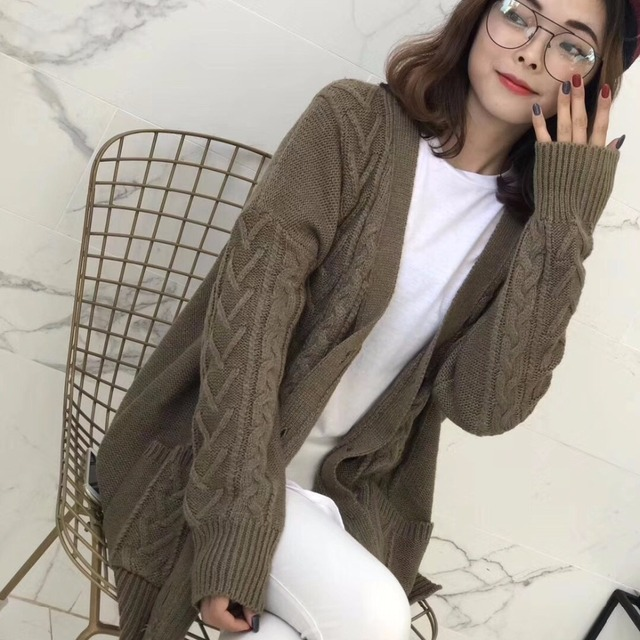 Womens Cable Knit Chunky Cardigan Long Sleeve Korean Casual