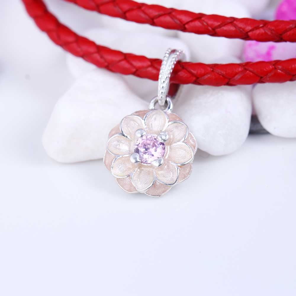 100% 925 Sterling Silver Fit Original Pandora Bracelet Blooming Dahlia Pendant Charm DIY Charms Beads for Jewelry Making Gift