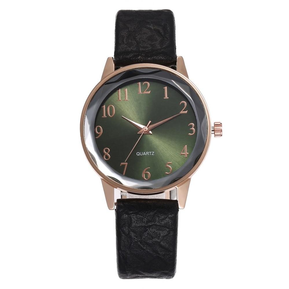 New Fashion Women Watch Arabic Numerals Simple Ladies Watch Clock Gift Leather Strap Quartz WristWatch Montre Femme Kol Saati #B