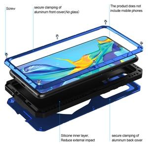 Image 3 - Voor Huawei P30 P30 Pro Telefoon Case Hard Aluminium Metal Gehard Glas Screen Protector Cover Voor Mate10 20 Zware bescherming