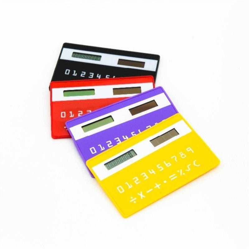 1 Stück Schreibwaren Karte Tragbaren Rechner Mini Handheld Ultra-dünne Karte Rechner Solar Power Kleine Schlanke Tasche Rechner Hohe QualitäT Und Preiswert