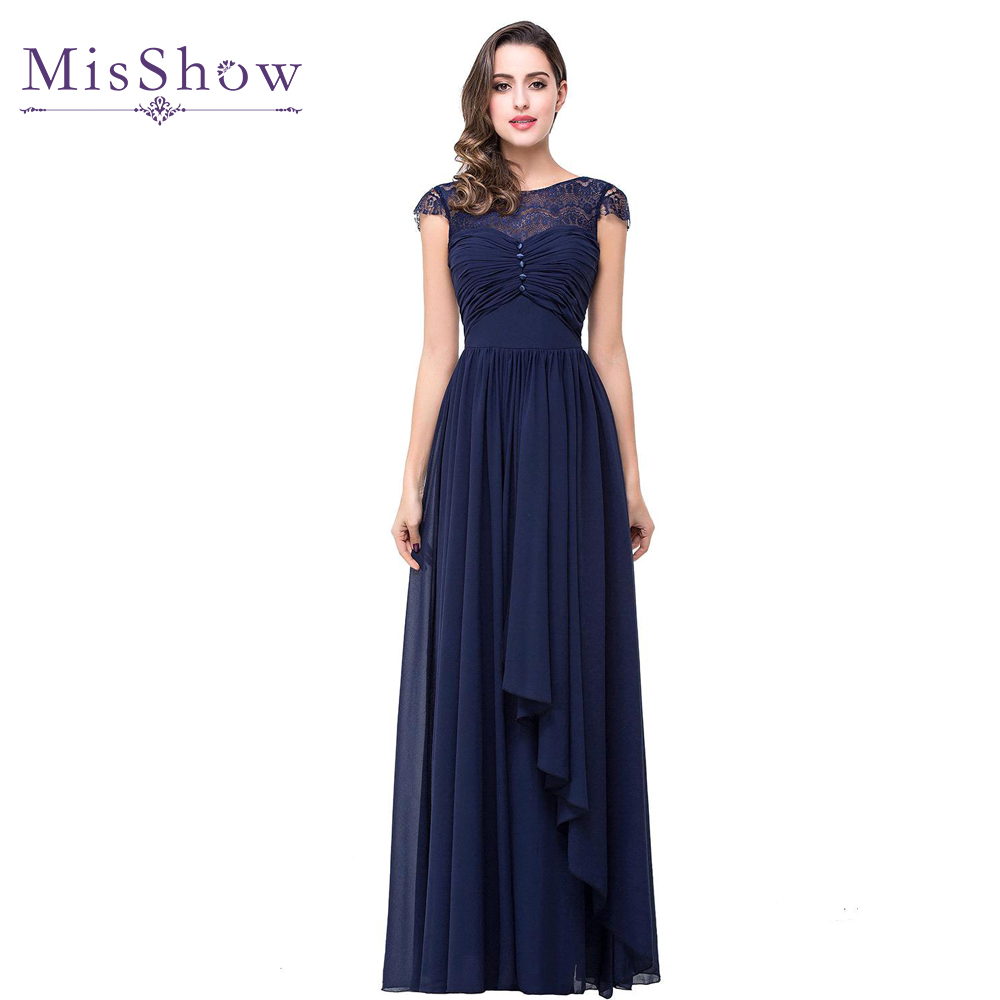 2019 Real Photo   Prom     Dress   Vestido De Festa Navy Blue Long Lace Chiffon   Prom     Dresses   Formal   Prom   Party Evening   Dress   With Bow