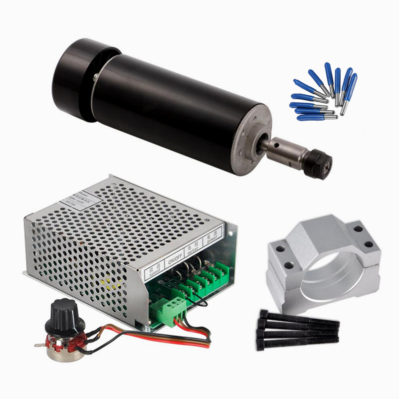 Air Cooled CNC Spindle 500W Mach3 Power Supply Governor 52MM Clamp ER11 Collet with cnc tools free shipping cnc spindle 500w er11 collet dc 0 5kw air cooled spindle motor 52mm clamp for engraving milling machine